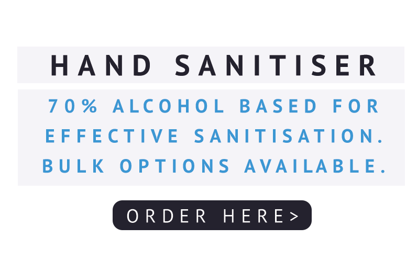Hand sanitiser. 70% alcohol based for effective sanitisation. Bulk options available. Order here